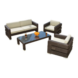 Great Deal Furniture - Belair 4-Piece Outdoor Sofa Seating Set - Create an outdoor oasis with this fashionable wicker sofa set. It's comfortable, weather-resistant and easy to maintain. The ecofriendly set comes with all the pieces you need — so you can start entertaining as soon as it arrives.