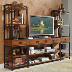 HomeStyles - 3-Pc Entertainment Center - Includes gaming entertainment center and two media towers. Four storage drawers. Six fixed shelves. Brown metal accents. Made from poplar solids and oak veneers. Distressed oak finish. 94 in. W x 18 in. D x 72 in. H. TV Stand Assembly Instructions. Media Tower Assembly InstructionsReminiscent of the American craftsman era with understated style and simplicity, the modern craftsman entertainment collection marries a traditional. The modern craftsman gaming entertainment center provides much needed storage space in an entertainment space.