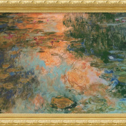 Amanti Art - The Water-Lily Pond, 1917-19 Framed Print by Claude Monet - The subject of myriad interpretations by the artist, water lilies, became Monet's favorite motif in his twilight years. The shimmering quality of his brushstrokes remains one of the most captivating qualities of his work, here in grand display in The Water-Lily Pond, 1917-19.