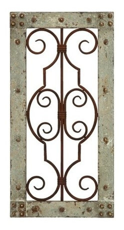 "Benzara - Antiqued Wooden and Metal Wall Panel with Vintage Ruggedness - Antiqued wooden and metal wall panel with vintage ruggedness. Decorate your home with this stylish and intricately designed wall panel that will surely transform the aesthetics of your home with grace and panache. It comes with a dimension of 20"" H x 10"" W x 1"" D."