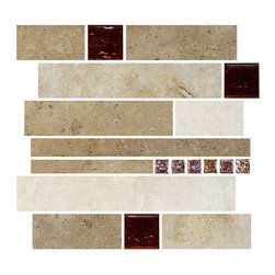 "Mosaic Decor - Travertine Subway Brown Glass Kitchen Backsplash Tile, 12""x12"" Sheet - Dark, medium and light color travertine colors mixed with 2""x2"" brown glass and small brown iridescent glass tiles. Subway travertine kitchen backsplash tile."