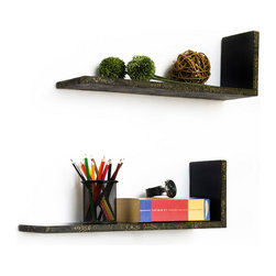 Blancho Bedding - [Chic Elegance] L-Shaped Leather Shelf / Bookshelf / Floating Shelf (Set of 2) - These beautifully crafted L Shaped Wall Shelves display the art of woodworking and add a refreshing element to your home. Versatile in design, these leather wall shelves come in various colors and patterns. They spice up your home's decor, and create a multifunctional storage unit for all around your home. These elegant pieces of wall decor can be used for various purposes. It is ideal for displaying keepsakes, books, CDs, photo frames and so much more. Install as shown or you may separate the shelves to create a layout that suits your taste and your style. Each box serves as a practical shelf, as well as a great wall decoration. Each measures approx. 19.3(W) x 6.7(H) x 5.9(D) inches, Thick: 0.6 inches.