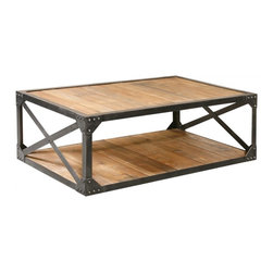 Industrial Metal and Wood Coffee Table - Reclaimed wood and steel. Go industrial with this reclaimed wood and steel frame coffee table. Perfect for entertaining at home or tough enough for commercial spaces. This coffee table is made with reclaimed wood and a heavy industrial steel frame. Go ahead and put your feet up!