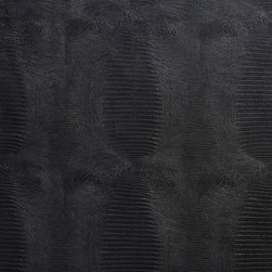 Black Textured Alligator Faux Leather Vinyl By The Yard - This material is great for automotive, commercial and residential upholstery. It is very easy to clean with mild soap and water.