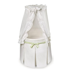 Badger Basket - Empress Round Baby Bassinet - White Bedding with Gingham Belts - Empress Round Baby Bassinet - White Bedding with Gingham Belts; Badger Basket's Empress Bassinet is a lovely and unique sleeping place for Baby's first few months!; Comfortable for Baby and stylish for your home.; Generously sized interior measures 29 inches in diameter and is 8 inches deep.; The Empress measures 30 inches from the rim of the bassinet to the floor (25 inches from rim to top of canopy).; Complete bedding set and foam mattress included.; Floor-length, pleated skirt is attached to the quilted interior liner.; The skirt conceals the bassinet stand and hides the storage shelf.; Ruffled, drape canopy flows down from the halo canopy frame at the top of the canopy pole.; Canopy is easily drawn out of the way to tend to your precious bundle inside.; Graceful canopy shades the interior to keep out harsh light while Baby is sleeping.; Fitted sheet covers the custom fitted, vinyl-covered-foam mattress.; Bassinet also includes locking caster wheels (never move the bassinet with your infant inside).; Mesh storage shelf beneath the bassinet is handy for feeding and diaper changing necessities and toys.; Canopy and skirt are 100% polyester, other fabrics are 80% Polyester/20% Cotton.; All bedding is machine washable (in cold water and gentle cycle). Tumble dry low, warm iron if needed.; Bassinet is for use up to 20 lbs. (9.09 kg), 3-4 months, or until Baby can push up, roll over, or sit unassisted (whichever age, weight, or activity limit comes first).; Adult assembly required. Illustrated instructions included.; Additional polyester/cotton sheets sold separately in packages of two (Model #83999).; Please assemble this bassinet in the room where you intend to use it unless your doorways are wider than 30 inches.; Bassinet may be used with or without the canopy.; Bassinet is made with metal tubing, PP plastic, fabric, and engineered wood.; You get three gingham belts with this bassinet!