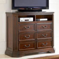 """Coaster - Foxhill Media Chest - Traditional style with extra storage. Bed features two extra storage drawers. This set features pine solids with cherry veneers finished in a deep brown color.; Traditional Style; Foxhill Collection; Deep Brown finish; Made of pine solids and cherry veneers; Drawers feature french dovetail in the front; Drawers feature english dovetail in the back; Top drawers are felt lined; No assembly required.; Dimensions: 48.5""""L x 18""""W x 40""""H"""