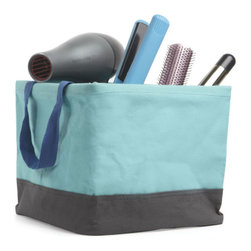 Umbra - Umbra Crunch Tote, Surf Blue - Our Crunch Tote from Umbra will carry everything you need from the dorm room to hit the showers. Perfect for carrying shampoo, conditioner, toothbrush, toothpaste or storing hair blowers, flat irons and brushes. This surf blue and charcoal square tote is made of 100% cotton canvas and is lined with laminated polypropylene for easy wipe and clean.