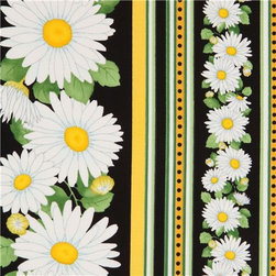 black daisy in stripes fabric by Timeless Treasures USA - designer flower fabric with many white daisies in stripes from the USA