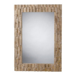 Arteriors - Gavin Mirror - A geometric mosaic of asymmetrically stacked wood blocks makes a stylish frame for this contemporary mirror. Made from sustainably grown mango wood with a natural finish, it has a soothing natural vibe and a fashion-forward design to freshen up your space. Hang horizontally over a console or vertically in a hallway.