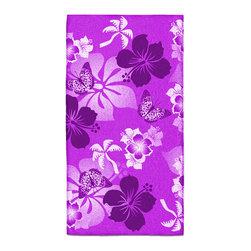 "Eco Friendly Hawaiian ""Aloha Purple"" Hibiscus Bath Hand Towel - Hand Towels are made of a super soft poly fiber fabric with 2mm pile."