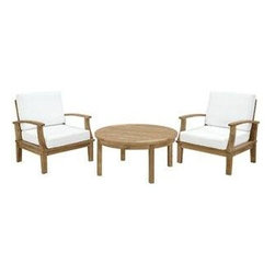 """LexMod - Marina 3 Piece Outdoor Patio Teak Sofa Set in Natural White - Marina 3 Piece Outdoor Patio Teak Sofa Set in Natural White - Harbor your greatest expectations with this luxurious solid teak wood outdoor set. Marina has a seating arrangement perfect for every member of your crew as you breathe the fresh crisp air of a day spent with friends and family. Known for its natural ability to withstand extreme weather conditions, teak is the wood selection of choice for long-lasting outdoor furnishings. Now you can enjoy Marinas durable construction and all-weather cushions, alongside a modern design that persistently looks new and welcoming. Zoom in on the product image before you, and see the exquisite texture and detail for yourself. Set Includes: One - Marina Teak Round Coffee Table Two - Marina Teak Armchair Solid teak wood construction, Richly textured wood graining, Water & UV Resistant Cushions, Machine Washable Covers Overall Armchair Dimensions: 31.5""""L x 32.5""""W x 31.5""""H Overall Coffee Table Dimensions: 40""""L x 40""""W x 19""""H Seat Dimensions: 31""""L x 26""""W x 12""""HBACKrest Height: 20""""H Armrest Height: 12""""H Floor to underside of table: 15.5""""H Table top thickness: .5""""H Overall Product Dimensions: 40""""L x 105""""W x 31.5""""H - Mid Century Modern Furniture."""