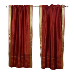 Indian Selections - Pair of Rust Rod Pocket Sheer Sari Curtains, 43 X 84 In. - Size of each curtain: 43 Inches wide X 84 Inches drop