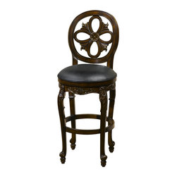 Hillsdale - Hillsdale Rosalee Swivel Counter Stool - 61910 - Warm and alluring best describe the delicate charm of the Rosalee Swivel Stool. Boasting a distressed cherry finish with copper highlights, this stool takes design and elegance to the next level. Intricately carved floral details are enhanced by the comfort of the black leather seat.