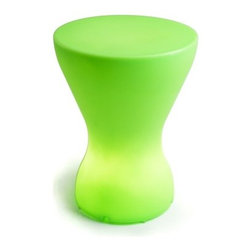 Offi - Bongo Lamp Kid's Stool - -Color: Sky blue. -Molded from plastic. -Plastic is non-toxic and odorless. -Modern, multipurpose design. -Serves as a stool and a low energy consuming lamp. -Can be stacked for design interest or easy storage. -Replaceable bulb is 12 volts and available at hardware and general merchandise stores. -Designed by Karim Rashid for Offi.