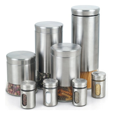 Cook N Home - Cook N Home Stainless Steel Canister and Spice Jar 8-Piece Set - 8-Piece stainless steel glass canister and spice jar set, include following most common used size, 27-ounce (800ml), 40-ounce (1.2-liter), 54-ounce (1.6-liter), 74-ounce (2.2-liter) and spice jar 4-piece each 5-ounce (150ml).