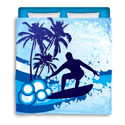 "Surfer Bedding - Eco Friendly ""Surf's Up"" Made in USA Premium Queen Size Duvet Cover - ""Surf's Up"" Surfer Bedding Is Premium Quality and Made In The USA!"