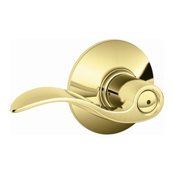 Schlage - Accent Bright Brass Bed and Bath Lever - F40 - Manufacturer SKU: F40 ACC 605. Handle Type: Lever. 10-Year Durable Finish Warranty and Lifetime Limited Mechanical Warranty. Triple Option Latch fits all door preps. Push-button locking. Working parts made of metal, not plastic, for long-lasting durability. Finish: Bright Brass. 2.3 in. L x 4.9 in. W x 2.8 in. H (1.5 lbs)