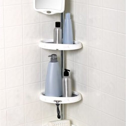 Zenith Products - Zenith E5804B Tub and Shower Corner Caddy - E5804B - Shop for Shower and Tub Caddies from Hayneedle.com! The Zenith E5804B Tub and Shower Corner Caddy is a complete shower station with 4 adjustable shelves to keep your toiletries organized and a mirror chrome washcloth bar and hanging storage for razors toothbrushes and more.About ZenithZenith Products Corporation is America's leading manufacturer of bathroom storage and organizational products for the retail market. Zenith offers a wide line of items and accessories that are both attractive and functional. Customers can choose from bath furniture in a variety of finishes materials sizes and designs. These products are complemented by matching space-savers tank-toppers and storage items that enable homeowners to make maximum use of bathroom space. Zenith helps decorate and organize bath and shower enclosures with its patented Twist-Tight curtain rods and broad range of shower caddies and lotion dispensers available in a wide array of styles and colors. Based in New Castle Del. Zenith products are distributed nationwide through home centers bath specialty shops mass merchants and catalog retailers.