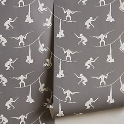 Primate Sequence Wallpaper - Go with gray and white monkey wallpaper for a modern gender-neutral nursery.