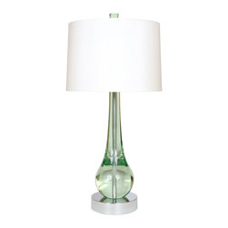 "Van Teal - Van Teal Wonder 33"" High Mint Acrylic Table Lamp - This contemporary table lamp features a mint acrylic base. The pear shaped base is paired with a bold white drum shade. This modern light is delicate and versatile. Part of the Fantasy collection. Chrome finish. Mint acrylic. White satin hard-back drum shade. Takes one 150 watt 3-way bulb (not included). 33"" high. Shade is 15"" x 16"" x 11"".  Chrome finish.   Mint acrylic.   White satin hard-back drum shade.   Takes one 150 watt 3-way bulb (not included).   33"" high.   Shade is 15"" x 16"" x 11""."