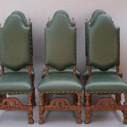 Set of Six Green Leather Dining Chairs - As green as a Christmas tree, these comfortable dining chairs would be an excellent choice for around the dinner table this holiday season.