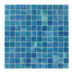 "HotGlass - Stained Glass - 7/8"" Glass Tile in Mossy Blue -"