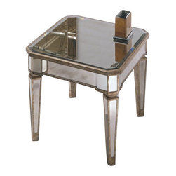 Basett Mirror - Rectangular End Table by Bassett Mirror Company - Antique Silver (8311-200) - The Borghese Mirrored Rectangle End Table (Antique Mirror & Silver Leaf Finish) has the following features: