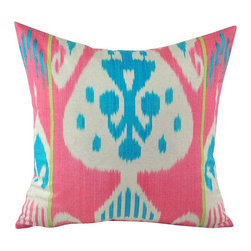 Handwoven Ikat Pillow Cover - Ikat pillow cover constructed from hand woven Ikat fabric from Uzbekistan.