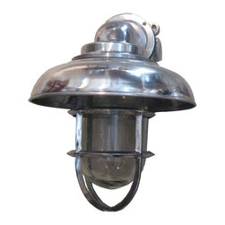 R.T. Facts - Aluminum Capped Pendant Light - Feel like you're in a ship's cabin, but without any fear of seasickness. This striking aluminum sconce has been refurbished from an antique Navy cabin light, and the end result is nothing short of first-rate.