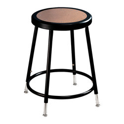 National Public Seating - National Public Seating Black Frame Stool Hardboard Seat with ADJ Height - These heavy duty steel stools with black frames are made of 7/8 inch o.d. , 18-gauge steel tubing with adjustable height. The seat is a full 14 inch diameter with an 11 1/2 inch diameter Masonite board recessed into the seat pan and will not chip or crack. 5/8 inch o.d. Footrings are welded to each leg, with 4 contact points at each leg for added rigidity. The adjustable height models feature chrome plated inserts and tilt swivel glides.