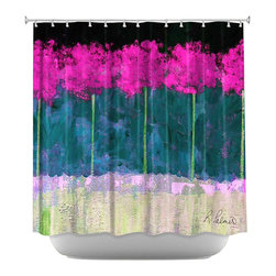 DiaNoche Designs - Shower Curtain Artistic - Fuschia Trees - DiaNoche Designs works with artists from around the world to bring unique, artistic products to decorate all aspects of your home.  Our designer Shower Curtains will be the talk of every guest to visit your bathroom!  Our Shower Curtains have Sewn reinforced holes for curtain rings, Shower Curtain Rings Not Included.  Dye Sublimation printing adheres the ink to the material for long life and durability. Machine Wash upon arrival for maximum softness. Made in USA.  Shower Curtain Rings Not Included.