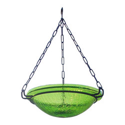 Achla - Fern Green Hanging Birdbath - Both reflective and beautiful, the crackled glass bowl is a great addition to your yard. Fern Green. Black Wrought Iron Hanging Chain included. Post not included. Construction Material: Glass. No Assembly Required. Bowl: 12.5 in. Diam. X 3 in. D (6 lbs.). 16.5 in. chain