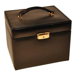 Budd Leather - Large 4 Drawer Jewel Box With Travel Box, Black - Large 4 Drawer Jewel Box With Travel Box Black.