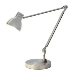 Adesso - Desk Lamps: Sliver 28 in. Satin Nickel LED Architect Desk Lamp 3181-22 - Shop for Lighting & Fans at The Home Depot. This funky 5 Watt LED Sliver architect lamp has a satin steel shade encased in acrylic. Tricking the eye, the shade is actually only 1 in. thick when viewed from side. The visible wiring and blue-light accented on and off touch switch on the base adds to the design of this handy lamp. The shade rotates 360 degrees horizontally and 90 degrees vertically, letting you direct the light as needed.