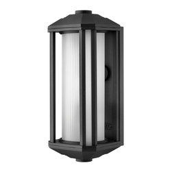 Hinkley Lighting - Hinkley Lighting 1390BK-GU24 Castelle 1 Light Outdoor Wall Lights in Black - Castelle's transitional style features clean lines and a ribbed etched glass cylinder accented by etched amber corner panels, adding to its sophisticated look.