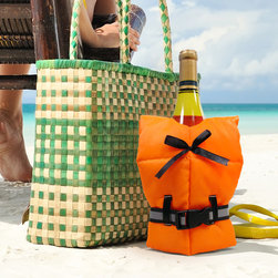 Vinotemp - Life Preserver Jacket - Whether you are giving a bottle away or keeping it for yourself, decorate it with this fun life jacket bottle cover. The perfect addition to a chilled bottle of white wine for a summer soirTe, this bottle decoration will be the topic of conversation and a memorable gift at your next party.