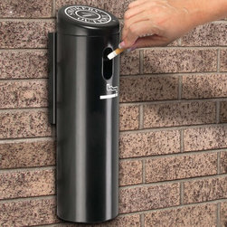 Commercial Zone - Commercial Zone Swivel Lock Wall Mounted Smokers Outpost - 712101 - Shop for Ash Receptacles and Sand Urns from Hayneedle.com! Save space and keep the work area clean with the Commercial Zone Swivel Lock Wall Mounted Smokers Outpost. It makes a great way to dispose of cigarette butts in a sanitary fashion. The oxygen-restricting technology extinguishes cigarettes immediately without the need for sand or water. The Swivel Wall-Mount has a powder-coated aluminum construction which allows for year-round use. You can empty it without touching the cigarette litter: just remove the cap swivel the top and dump the tube. Other features include a sloped cover an Allen wrench removable cap (two Allen wrenches included) and a cylindrical internal tube. The Smokers' Outpost comes in black or silver. Dimensions: 4 diam. x 16H inches.About iTouchlessiTouchless Housewares & Products creator of the Touchless Trashcan EZ Faucet and Towel-Matic manufactures and distributes a line of innovative products for your home and office. Their mission: to make people's lives a little easier by using their products. Over the last 15 years iTouchless has established a solid foundation and assembled multiple factories in Asia to support the increasing demand of sensor-activated products. Their vision for the future is to create a continuous stream of customer-driven innovations while selecting strategic partners and distributors to form mutually beneficial relationships.