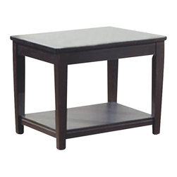 Monarch Specialties - Monarch Specialties I 7816E Cappuccino Veneer End Table - This contemporary end table features a smooth surface, shaker legs and sleek lines that characterize contemporary decor. The flat rectangular top provides an ideal resting place for lamps and decorative accents like family picture frames and books. This dark cappuccino veneer piece is perfectly proportioned for pairing with your sofa or couch, and the lower storage shelf accented with a grooved trim, offers even more functionality. End Table (1)