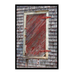 "Shuttered Window - Archival photographic print on canvas 24"" x 36"", Black floating frame,"