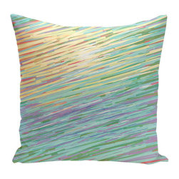 e by design - Abstract Coastal Yellow and Green 16-Inch Cotton Decorative Pillow - - Decorate and personalize your home with coastal cotton pillows that embody color and style from e by design  - Secondary Colors: Purple and Red  - Fill Material: Synthetic down  - Closure: Concealed Zipper  - Care Instructions: Spot clean recommended  - Made in USA e by design - CPO-GH18-Multi-16