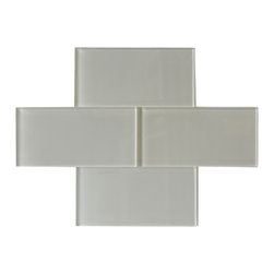 """Beige Glass Subway Tile - Beige Color. Glossy Glass Tile 3""""x6"""". Price is per square foot."""