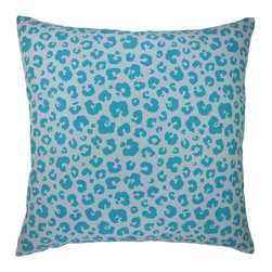 "NECTARmodern - See Spot Run modern leopard animal print graphic throw pillow 20"" x 20"" - Modernized animal print in blue. Poly linen front with dyed graphic. White linen back. Designer quality cover with overstuffed feather/down insert."