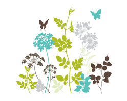 """WallPops - Habitat Wall Art Decal Kit - The Habitat wall art kit puts a modern spin on a classic nature theme. Give your walls a screen-printed look with these lush forest silhouettes of ferns, leaves, branches and butterflies. Habitat wall decals bring refreshing pops of color in green, blue, grey and brown. Habitat Kits are printed on two 17 1/4"""" x 39"""" sheets, and contains 14 pieces. Habitat Kits are repositionable and totally removable."""