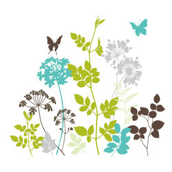 "WallPops - Habitat Wall Art Decal Kit - The Habitat wall art kit puts a modern spin on a classic nature theme. Give your walls a screen-printed look with these lush forest silhouettes of ferns, leaves, branches and butterflies. Habitat wall decals bring refreshing pops of color in green, blue, grey and brown. Habitat Kits are printed on two 17 1/4"" x 39"" sheets, and contains 14 pieces. Habitat Kits are repositionable and totally removable."