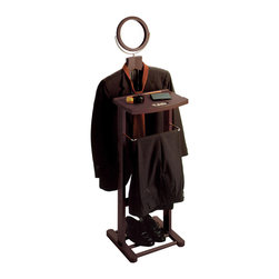 Winsomewood - Valet Stand with Mirror, Open Base - This dresser valet stand can accommodates a shirt, jacket, trousers, and pair of shoes. This valet features a trouser rack for his pants, a tray for jewelry, keys, or a wallet. The tilt mirror is perfect for a quick morning brush up. The base holds a pair of shoes.