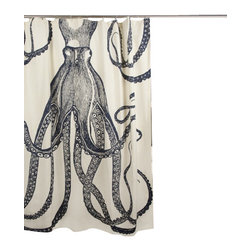 "Thomas Paul - Nautical Octopus Shower Curtain - The hand sewn Thomas Paul Nautical Octopus shower curtain features hand screened prints on 100% cotton canvas.  The shower curtain features one of our favorite themes: nautical imagery. The design features an octopus whose tentacles are blossoming on the canvas. The curtain measures 72"" x 72"". The print color adds a nautical accent to your bathroom.   About the Artist: After graduating from NYC's famed FIT, Thomas Paul started his career as a colorist and designer at a silk mill. Eventually, he leveraged his knowledge of silk materials & print to launch a neckwear line of his own. Over time, Paul loved the idea of applying menswear print and design into a collection of home decor, which is what we see in his goods today. His background has embedded in him a passion for quality production techniques. Even as his brand grows, he continues to ensure all of his prints are hand screened - a slow, detailed process that results in each piece being a unique piece of artwork. Paul also pushes the envelope in terms of bold prints and hand ground materials.       ""My vision for the thomaspaul brand has always been about combining classic design motifs from different periods in textile design. Incorporating anything from an 18th century Damask pattern to a camouflage print. The unifying thread between so many different styles is to change the designs so they are updated for today. For me this means changing the scale, so they are always bold, and reducing down the colors and details, so most designs are reduced to two or three colors and become very flat, bold prints. I am always looking to vintage fabrics and motifs for inspiration and new ideas, but always try to update these to look good for today."" - Thomas Paul   Product Details:"