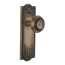 Nostalgic - Nostalgic Mortise-Meadows Plate-Meadows Knob-Antique Brass (NW-701807) - Meadows Plate with Meadows Knob With Keyhole - Mortise