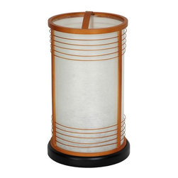 Oriental Unlimted - Shinjuku Shoji Lampshade - This round rice paper lantern includes elements of old and new Japanese design. Classic round shoji lantern with modern ring design. Like all rice paper lanterns, they cast a beautiful, soft, warm, indirect light, which, some people feel, tends to make everything in the room look better. US Standard size UL approved power cord, bulb socket and switch. Lacquered wood base, shade collar and decorative rings. Fiber reinforced Japanese rice paper lampshade. 7.5 in. Dia. x 13.5 in. HRice paper lanterns came into use in Japan when paper was first produced there. They have been popular ever since. Of course now they're electric, not candles and have distinctive modern design elements, like the decorative lattice rings and the convenient arched cross piece on the top collar. Although they look like expensive accent lamps, we import these lamps directly and pass the savings on to our customers.