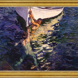 """Joaquin Sorolla Y Bastida-16""""x24"""" Framed Canvas - 16"""" x 24"""" Joaquin Sorolla Y Bastida The White Boat, Javea framed premium canvas print reproduced to meet museum quality standards. Our museum quality canvas prints are produced using high-precision print technology for a more accurate reproduction printed on high quality canvas with fade-resistant, archival inks. Our progressive business model allows us to offer works of art to you at the best wholesale pricing, significantly less than art gallery prices, affordable to all. This artwork is hand stretched onto wooden stretcher bars, then mounted into our 3"""" wide gold finish frame with black panel by one of our expert framers. Our framed canvas print comes with hardware, ready to hang on your wall.  We present a comprehensive collection of exceptional canvas art reproductions by Joaquin Sorolla Y Bastida."""