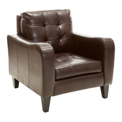 Great Deal Furniture - Bowdon Brown Leather Club Chair - The Bowden Club Chair is a unique piece that will compliment the decor of any room in your home. The juxtaposition of the rounded armrests with the tufted detailing on the seat and backrest creates a versatile statement club chair. With its great padded seat and backrest, you'll enjoy comfort and style all in one.